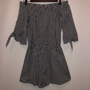 Checkered Romper Off the Shoulder